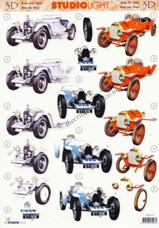 Vintage Sports Cars 3d Decoupage Sheet